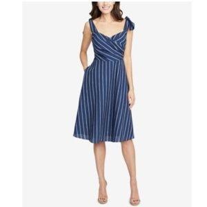 Rachel Roy Kate Striped Faux-Wrap Dress Bright Blu